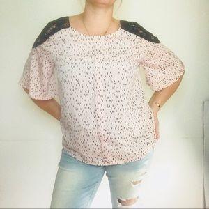 Worthington | Lace Shoulder Blouse